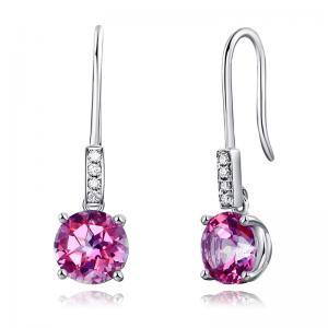Cercei Borealy Aur Alb 14 K Topaz Roz 2.5 Ct & 8 Diamante
