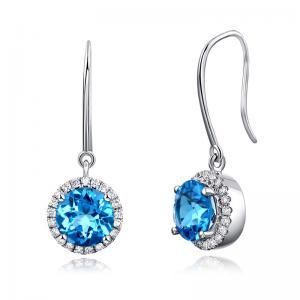 Cercei Borealy Aur Alb 14 K Topaz Albastru Swiss Natural 1,55 ct & 42 Diamante