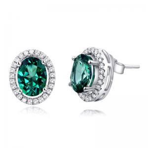 Cercei Borealy Aur Alb 14 K Topaz Verde Natural 1.6 Ct & 50 Diamante