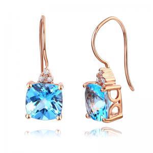 Cercei Borealy Aur Roz 14 K Topaz Natural Blue Swiss 2.5 Ct Cushion & 8 Diamante