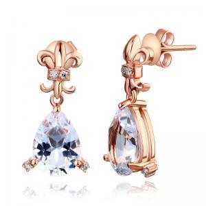 Cercei Borealy Aur Roz 14 K Topaz Natural Pear 3.5 Ct & 8 Diamante