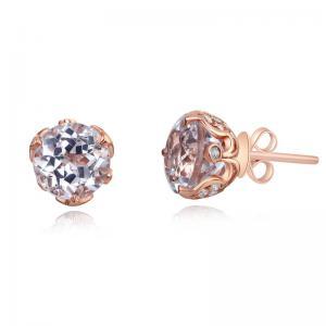 Cercei Borealy Aur Roz 14 K Vintage Style 2.5 Ct Topaz Natural 2,5ct & Diamante