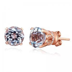 Cercei Borealy Aur Roz 14 K Vintage Style Topaz Natural 1,55 ct & 64 Diamante