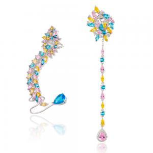 Cercei Borealy 2 in 1 Ear Cuff & Long Multi-Colour Crystals