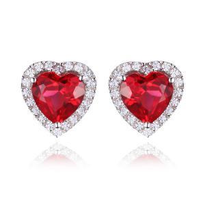 Cercei Borealy Argint 925 Rubin 4 carate Red Love0