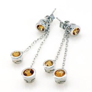 Citrine Light Cercei 4 carate - Pietre Preţioase Naturale Argint 9252