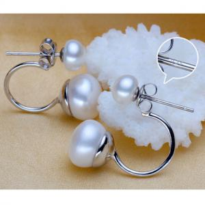 Cercei Double Perle Naturale Silver 9252