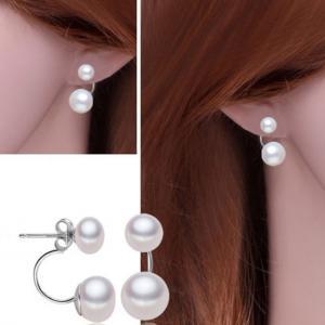 Cercei Double Perle Naturale Silver 9255