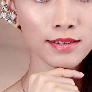 Cercei Ear Cuff Asimetrici Crystal Pearl by Borealy3