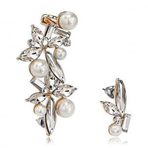 Cercei Ear Cuff Asimetrici Crystal Pearl by Borealy0