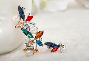 Cercei Borealy Crystal Pearl Ear Cuff Asimetrici Colours7