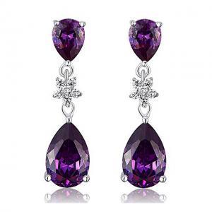 Cercei Borealy Argint 925 Purple Sapphire Flower Drop0