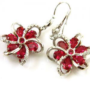 Cercei şi medalion Flower Rubin by Borealy Argint 9257