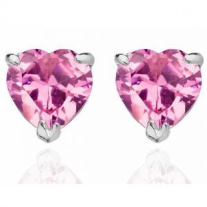Cercei Studs Sapphire Heart Pink0