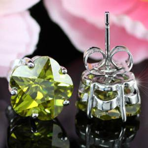 Cercei Borealy Sapphire Studs Flower Cut Lime Green6