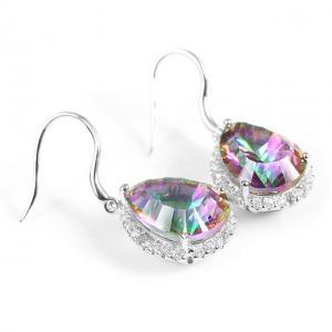 Cercei Borealy Argint 925 Topaz Pear 9 carate Mistic Fire2