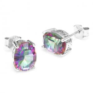 Cercei Borealy Argint 925 Mistic Topaz 3 carate Rainbow Oval2