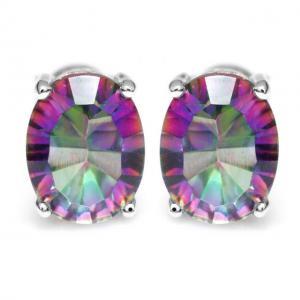 Cercei Borealy Argint 925 Mistic Topaz 3 carate Rainbow Oval0