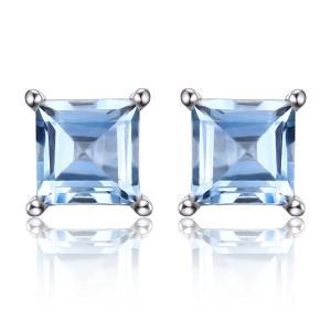 Cercei Borealy Argint 925 Topaz Natural 1 carat Princess Sky Blue0