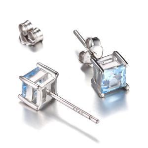 Cercei Borealy Argint 925 Topaz Natural 1 carat Princess Sky Blue2
