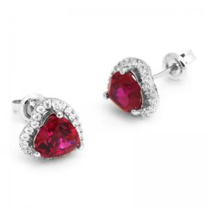 Cercei Borealy Argint 925 Rubin 4 carate Red Love1