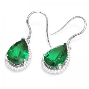 Cercei Russian Smarald Pear 8 carate argint 9252