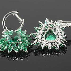 Smaralde Marquise Set Cercei, Colier şi Inel - Pietre Preţioase Argint 9259