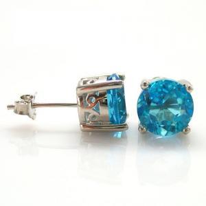 Cercei Pietre Preţioase Naturale Topaz Blue Studs 4 Carate2