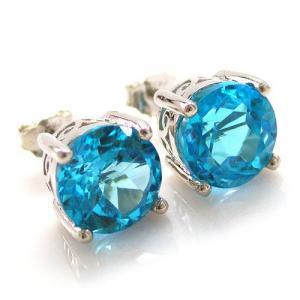 Cercei Pietre Preţioase Naturale Topaz Blue Studs 4 Carate3