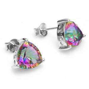 Cercei Triangle Rainbow Topaz 5 carate Argint 9252