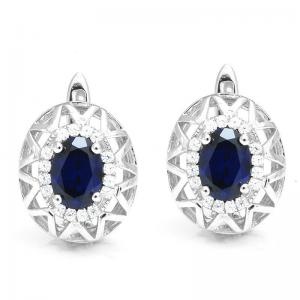 Cercei Borealy Argint 92 Safir True Blue0