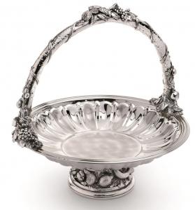 Bol Nettuno MAUSY cu mâner, pentru fructe/dulciuri, argintat by Chinelli, made in Italy