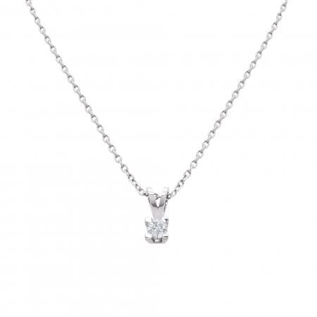Colier aur alb 18k cu diamant