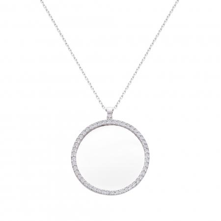 Colier aur alb 18k cu diamante