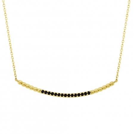Colier aur galben 18k cu diamante negre
