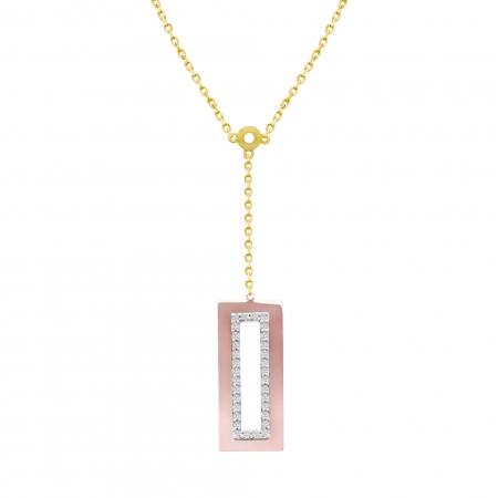 Colier aur galben combinat cu aur rose 18k cu diamante