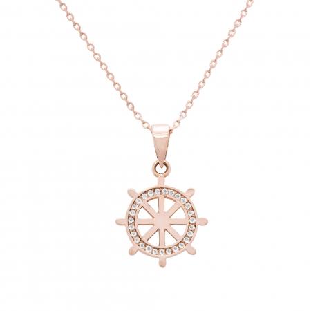 Colier aur rose 18k cu diamante