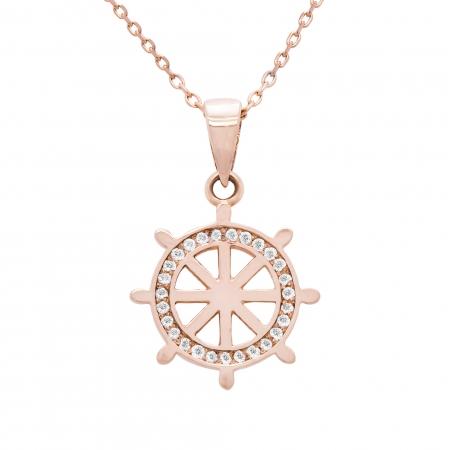 Colier aur rose 18k cu diamante1