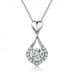 Colier Borealy Argint 925 Heart Drop Simulated Diamonds0