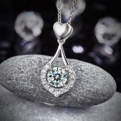 Colier Borealy Argint 925 Heart Drop Simulated Diamonds3