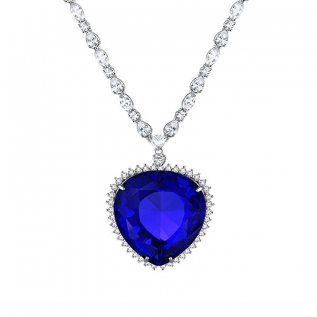 Colier Luxury Titanic Sapphire Heart of the Ocean0
