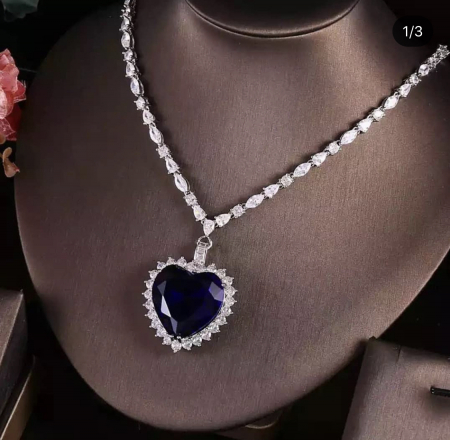 Colier Luxury Titanic Sapphire Heart of the Ocean1
