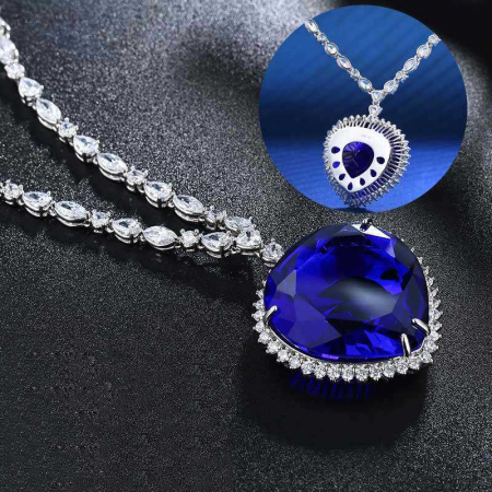 Colier Luxury Titanic Sapphire Heart of the Ocean3