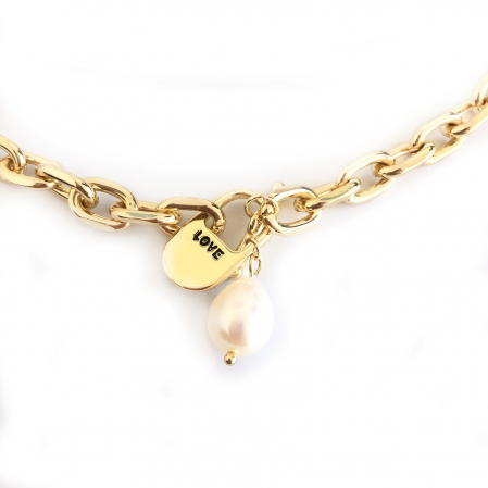 Set Colier si Bratara Chain Gold Natural Pearl1