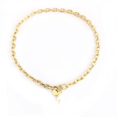 Set Colier si Bratara Chain Gold Natural Pearl2