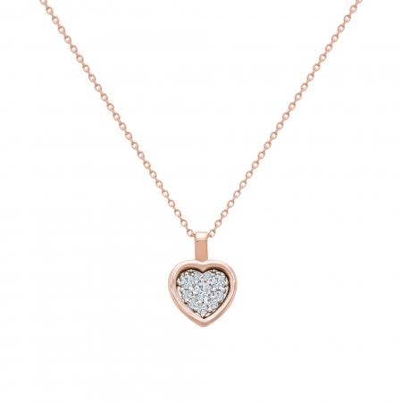 Colier din aur rose 18k cu diamante