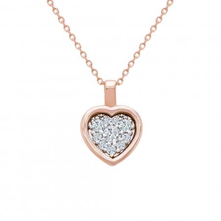 Colier din aur rose 18k cu diamante1
