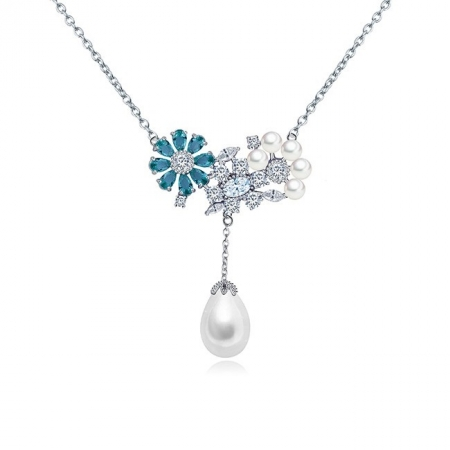 Colier Flowers Sky Blue & Pearls