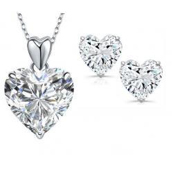 Set Cercei Heart si Colier Love Heart Borealy Argint 9250