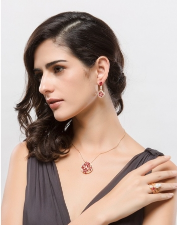 Colier Luxury Flowers Red Ruby2